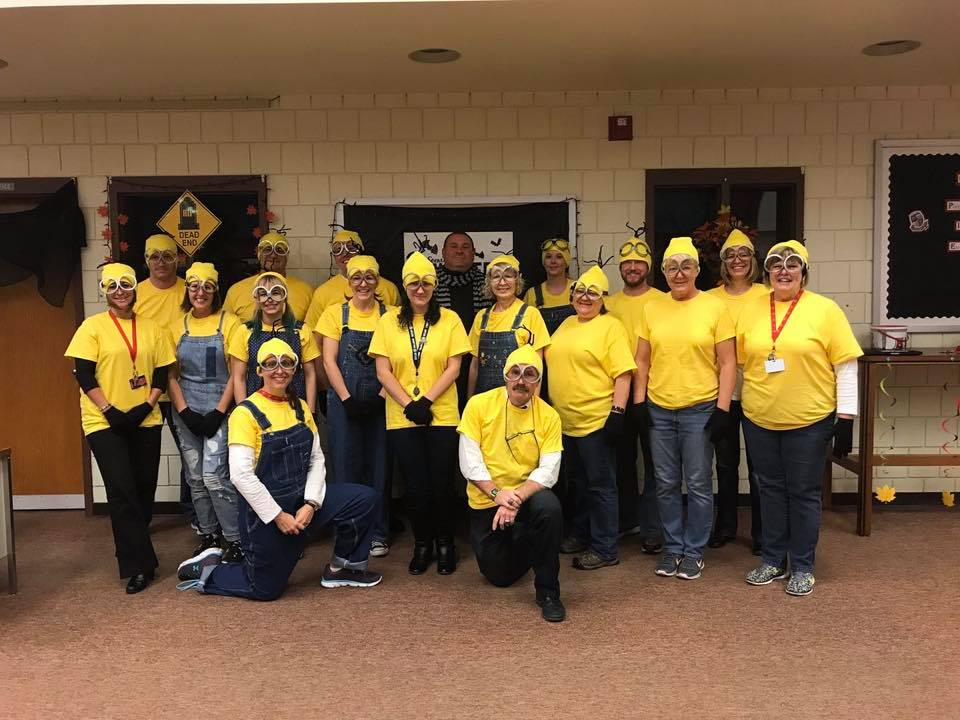 Teachers Dressed as Minions for Halloween