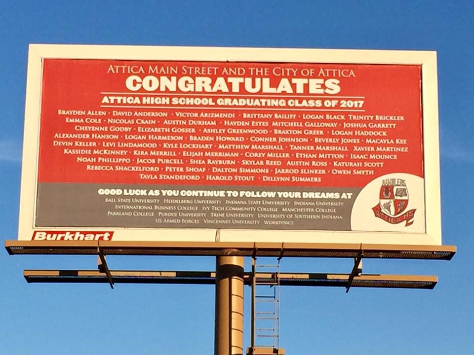 Billboard featuring the Class of 2017