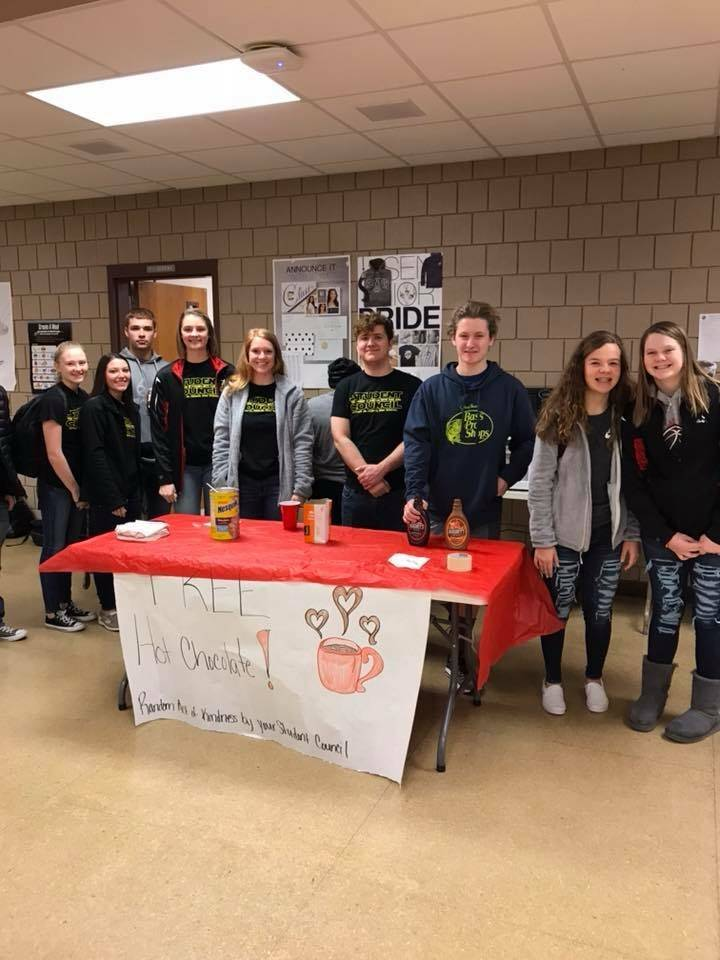 Student Council members provided Hot Chocolate on a cold morning as a random act of kindness